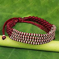 Silver accent wristband bracelet, 'Burgundy Chiang Mai Quartet' - Burgundy Macrame Wristband Bracelet with Silver 950 Beads