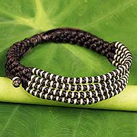 Silver accent wristband bracelet, 'Chocolate Chiang Mai Quartet' - Thai Hill Tribe Silver Dark Brown Macrame Bracelet