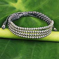 Silver accent wristband bracelet, 'Misty Chiang Mai Quartet' - Macrame Bracelet with Silver in Misty Light Grey