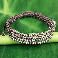 Silver accent wristband bracelet, 'Grey Chiang Mai Quartet' - Hand Knotted Grey Cord Bracelet with Silver Accents