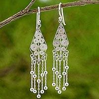 Sterling silver dangle earrings, 'Delicate Kite' - Artisan Crafted Sterling Silver Earrings with a Spiral Motif