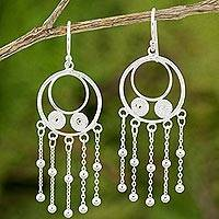 Sterling silver dangle earrings, 'Dreaming in Circles' - Handmade Sterling Silver Dangle Earrings with Circle Motif