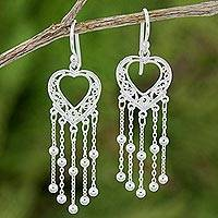 Sterling silver dangle earrings, 'Lovely Hearts' - Artisan Crafted Sterling Silver Heart Dangle Earrings