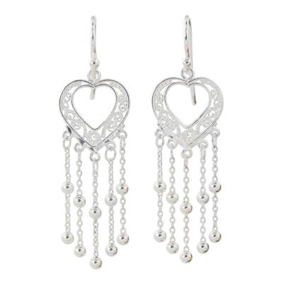 Sterling silver dangle earrings, 'Lovely Hearts' - Artisan Crafted Sterling Silver Heart Dangle Earrings