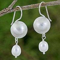 Cultured pearl and sterling silver dangle earrings, 'Luminous Spheres' - Handmade Cultured Pearl and Sterling Silver Dangle Earrings