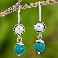 Calcite dangle earrings, 'Solar Blue' - Artisan Crafted Calcite and Sterling Silver Dangle Earrings