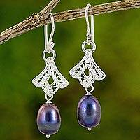 Cultured pearl filigree dangle earrings, 'Glistening Rose Bud' - Artisan Crafted Cultured Pearl and Sterling Silver Earrings