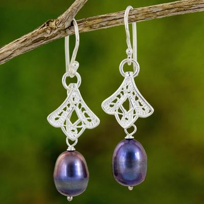 Novica Amethyst dangle earrings, Floral Bud - Sterling Silver and Amethyst Earrings