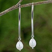 Cultured pearl and sterling silver dangle earrings, 'Stunning Radiance' - Handmade Cultured Pearl and Sterling Silver Dangle Earrings