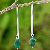 Sterling silver dangle earrings, 'Stunning Earth' - Reconstituted Turquoise and Sterling Silver Earrings