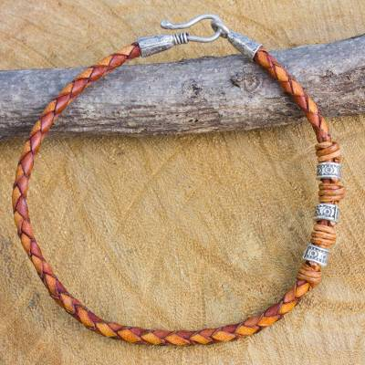 Men's braided leather bracelet, 'Walk the Russet Path' - Men's Braided Leather Bracelet with Hill Tribe Silver