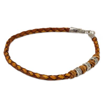 Men's braided leather bracelet, 'Walk the Russet Path' - Men's Braided Leather Bracelet with Hill Tribe Silver