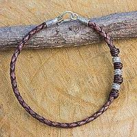 Men's braided leather bracelet, 'Walk the Chocolate Path' - Hill Tribe Silver Accent Braided Brown Leather Mens Bracelet