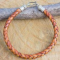 Men's braided leather bracelet, 'Nature in Rhythm' - Russet Brown Men's Leather Bracelet Hill Tribe Silver Clasp