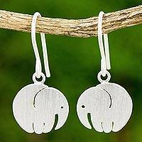 Sterling silver dangle earrings, 'Little Round Elephant' - Satin Finish Thai Sterling Silver Elephant Earrings