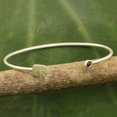 Garnet and sterling silver cuff bracelet, 'Elephant Smile' - Artisan Crafted Garnet and Sterling Silver Cuff Bracelet