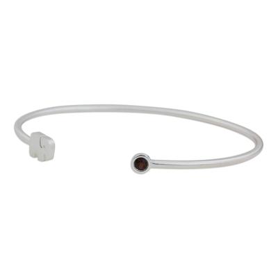 Garnet and sterling silver cuff bracelet, 'Elephant Smile' - Artisan Crafted Garnet and Sterling Silver Cuff Bracelet