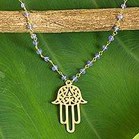 Gold plated tanzanite pendant necklace, 'Spirit Hamsa' - Gold Plated Sterling Silver Pendant Necklace from Thailand