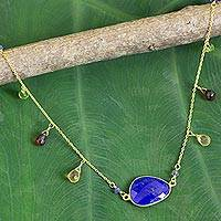 Gold plated lapis lazuli pendant necklace, 'Lush Garden' - Gold Plated Sterling Silver Lapis Lazuli Necklace Thailand