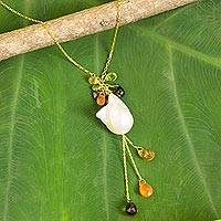 Gold plated cultured pearl and gemstone pendant necklace, 'Gemstone Chandelier' - Thai 18k Gold Plated Cultured Pearl and Gemstone Necklace