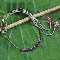 Amethyst and tourmaline long necklace, 'Lavender Bouquet' - Thai Amethyst Tourmaline and 18k Gold Plated Silver Necklace