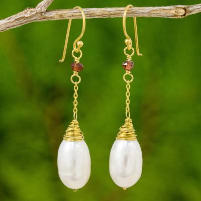 Gold plated cultured pearl dangle earrings, 'White Magnolia' - Thai Cultured Pearl Garnet 18k Gold Plated Dangle Earrings