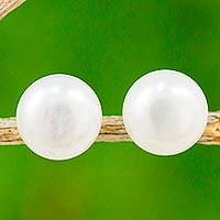 Cultured pearl stud earrings, 'Thai Full Moon' - Thai Cultured Pearl Stud Earrings 18k Gold Plated Posts