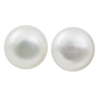 Thai Cultured Pearl Stud Earrings 18k Gold Plated Posts