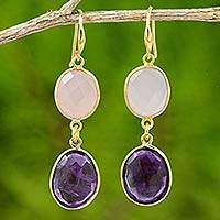 18k gold plated amethyst and rose quartz dangle earrings, 'Lavender Kiss' - 18k Gold Plated Amethyst and Rose Quartz Dangle Earrings