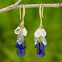 Gold plated multi-gemstone dangle earrings, 'Sea Moods' - 18k Gold Plated Multi-Gemstone Dangle Earrings