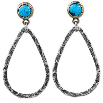 Gold accent sterling silver dangle earrings, 'Rustic Tear' - Gold Accent Silver Earrings with Reconstituted Turquoise