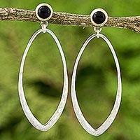 Gold accent onyx dangle earrings, 'Brushed Tear' - Gold Accent Sterling Silver Earrings with Black Onyx