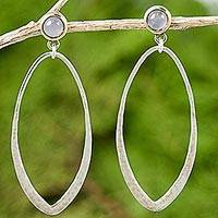 Gold accent moonstone dangle earrings, 'Brushed Tear' - Thai Sterling Silver Gold Accent Earrings with Moonstone
