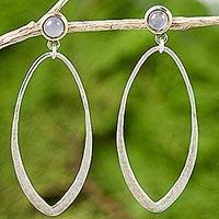 Gold accent moonstone dangle earrings,