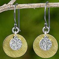 Sterling silver and gold plated brass dangle earrings, 'Golden Moon Shadow'