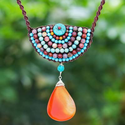 Multi-gemstone beaded pendant necklace, 'Delicate Bohemian' - Hand Crafted Multi-gemstone Pendant Necklace from Thailand