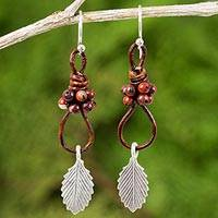 Silver, jasper, and leather dangle earrings, 'Wind Breeze' - Jasper and Silver Dangle Earrings with Leaf Motif