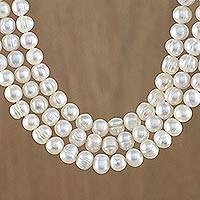 Pearl strand necklace, 'Triple White Halo' - Artisan Crafted Thai Triple White Pearl Strand Necklace
