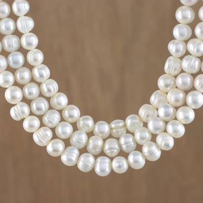 Cultured pearl strand necklace, 'Triple White Halo' - Artisan Crafted Thai Triple White Pearl Strand Necklace