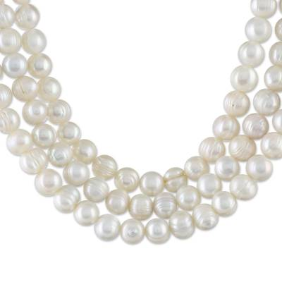 Artisan Crafted Thai Triple White Pearl Strand Necklace