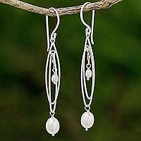 Cultured pearl dangle earrings, 'Jasmine Drops' - Sterling Silver and Cultured Pearl Dangle Earrings Thailand