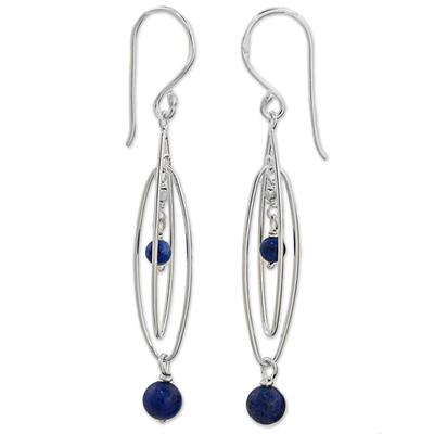 Lapis lazuli dangle earrings, 'Lapis Drops' - Sterling Silver and Lapis Lazuli Dangle Earrings Thailand