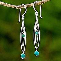 Sterling silver dangle earrings, 'Ocean Drops' - Sterling Silver and Calcite Dangle Earrings Thailand