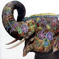 'Happy Hours I' (2015) - Original Acrylic Painting of Elephant with Pastel