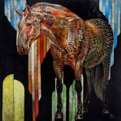 'Red Horse' (2015) - Original Acrylic and Pastel Portrait of Horse on Canvas