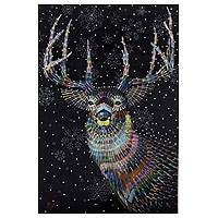 'Christmas Day' (2015) - Signed Acrylic and Pastel Portrait of Deer from Thailand