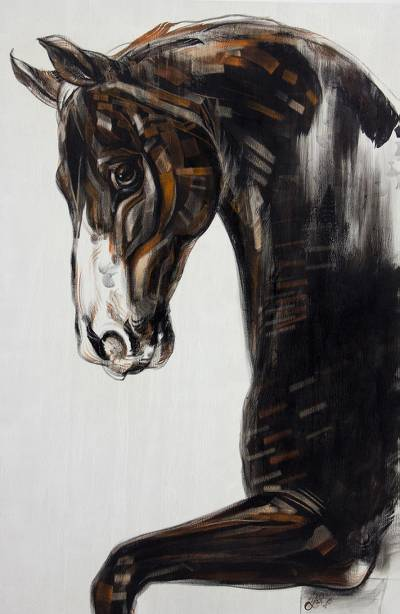 Original Painting of Horse in Acrylics and Pastel