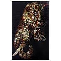 'Elegant Elephant' (2015) - Original Signed Painting of Elephant in Acrylic and Pastel