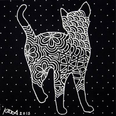 'Let's Be Friends' - Signed Stretched Acrylic Painting of Cat in Black and White