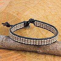 Silver and leather beaded cord bracelet, 'Together in Black' - Hand Crafted Silver and Black Leather Beaded Cord Bracelet